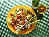 Greek salad with tomatoes, sheep's cheese & radishes