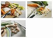 Preparing soup ingredients (vegetables & forcemeat dumplings)
