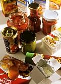 Various ready-made sauces in jars, tin, bag, tetrapak