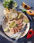 Pork loin with Mexican coriander sauce and tortilla