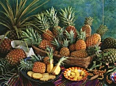 Pineapple still life with various types, whole & sliced