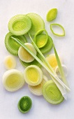 Several leek rings on light background