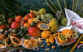 Still life with many different exotic fruits