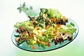 Lettuce with fried brown mushrooms & tomato vinaigrette