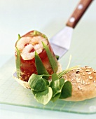 Shrimps in aspic with mangetouts & peppers on half a roll