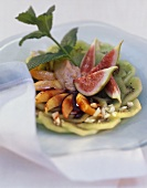 Kiwi & fig salad with banana mousse, nectarines, almonds, mint
