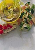 Rice stew with fish balls; broccoli salad; soft cheese & bread