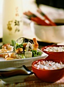 Japanese shrimp fondue with vegetables and mushrooms