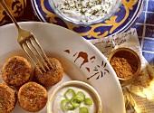 Middle Eastern falafel - fondue with herb yoghurt dip