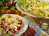 Curly endive with beetroot, walnuts & potato salad with apples