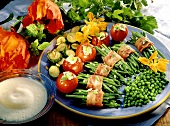 Summer vegetable platter with beans, tomatoes & champagne sauce