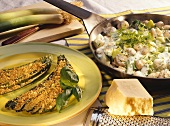 Courgette fans & breadcrumbs; leeks & mushrooms in herb cream