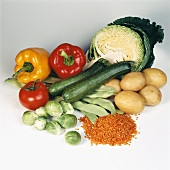 Various vegetables, including Brussels sprouts & red lentils