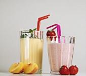 Mozart flip (buttermilk with strawberries) and peach flip