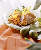 Chicken breast with carrots & oranges & walnuts kernels