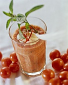 Spicy tomato & herb drink with mint, chili, yoghurt blobs