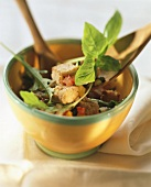 Bread salad with mixed vegetables & basil in bowl