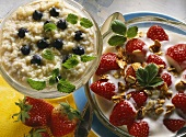 Fresh grain muesli with blueberries & mint & strawberry muesli