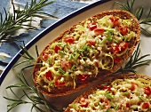 Toasted grain baguettes with vegetables and cheese