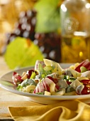 Autumn pasta salad with radicchio and chicken breast