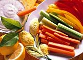 Carrot, celery & pepper sticks with lemon & mustard dip