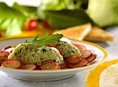 Kohlrabi and rocket mousse with radishes