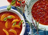 Apricot and tomato soup; spicy tomato soup with lavender