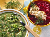 Broccoli and peanut soup and red onion soup with beetroot