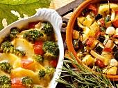 Broccoli and potato bake; baked potatoes