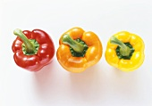 Red, orange and yellow pepper (tops)