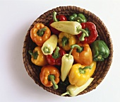 Colourful peppers with a long pepper in shallow basket