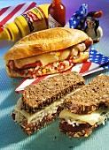 Wholemeal sandwich with sauerkraut, cheese (Reuben sandwich)