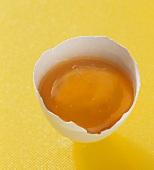 Eidotter in Eierschalenhälfte auf gelbem Untergrund