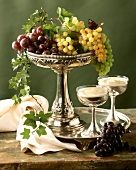 Assorted Grapes in a Silver Bowl