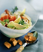 Asparagus & avocado salad with croutons, tomatoes & thyme