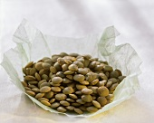 Brown lentils on wrapping paper