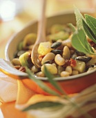White bean stew with pumpkin seeds, potatoes and bay leaf