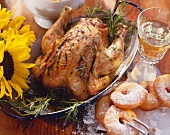 Harvest supper menu with rosemary chicken & apple fritters