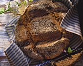 Franconian country bread with coriander on striped cloth