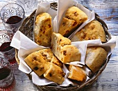 Portuguese bread stuffed with diced sausage in bread basket