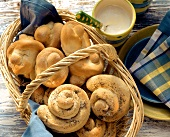 Quark rolls and yoghurt snails with poppy seeds in basket