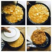 Making tortilla de patatas (potato omelette)