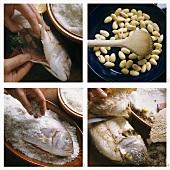 Preparing gilthead bream in salt crust with almonds