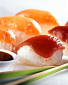 Nigiri sushi with raw salmon and tuna fillet