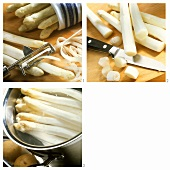 Peeling and boiling white asparagus