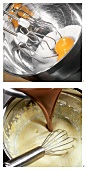 Schokoladenpudding zubereiten: Schokolade in Eierschaum geben