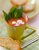 Tomato soup with blobs of cream & basil in green cup