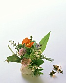 Colourful herb bouquet with watercress flowers beside garlic