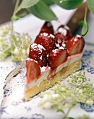 Strawberry gateau with elderflower cream & icing sugar