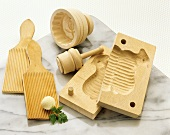 Various wooden moulds for shaping butter